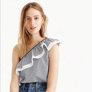 J. Crew One Shoulder Ruffle Top in Stripe
